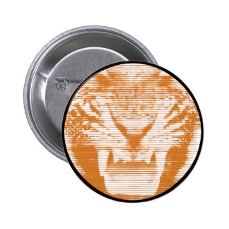 Angry Brown Tiger Horizontal Lines 2 Inch Round Button