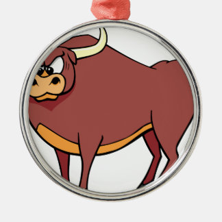 Angry Bull Cartoon Metal Ornament
