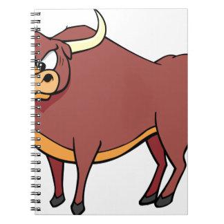 Angry Bull Cartoon Notebooks