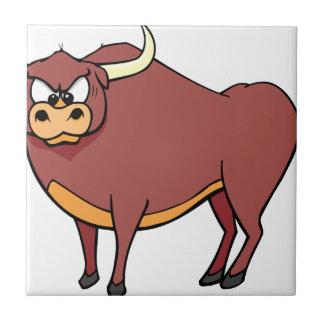 Angry Bull Cartoon Tile