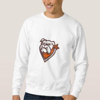 Angry Bulldog Wearing Neckerchief Retro Sweatshirt