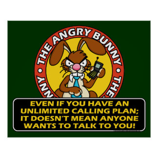Angry Bunny Cell Phone Poster