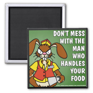 Angry Bunny Food Service Square Magnet
