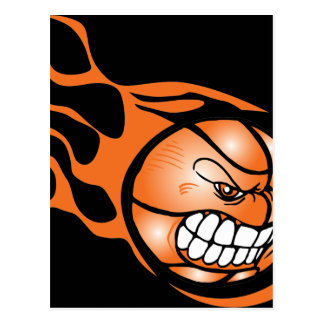 Angry Burning Basketball Postcard