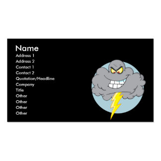 Angry Cartoon Black Cloud With Lightning Business Card