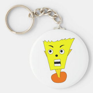 Angry Cartoon Face Basic Round Button Keychain