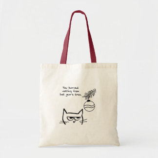 Angry Cat and the Christmas Tree Budget Tote Bag
