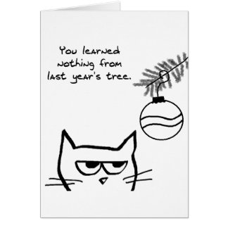 Angry Cat and the Christmas Tree Card