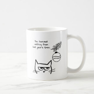 Angry Cat and the Christmas Tree. Classic White Coffee Mug