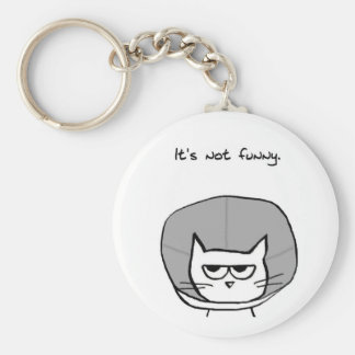 Angry Cat and the Cone of Shame Basic Round Button Keychain