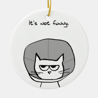 Angry Cat and the Cone of Shame Ceramic Ornament