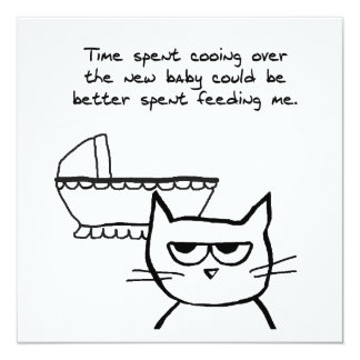 "Angry Cat and the new Baby 5.25"" Square Invitation Card"