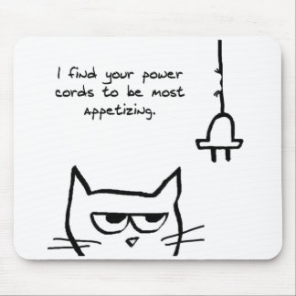 Angry Cat Chews up your Power Cords Mouse Pad