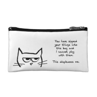 Angry Cat Doesn t Like Zipped Bags Cosmetic Bag