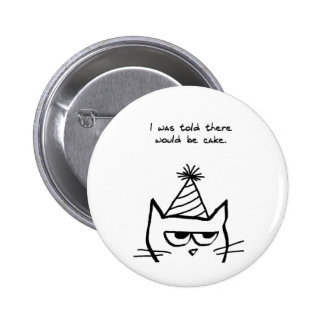 Angry Cat Hates Birthdays 2 Inch Round Button