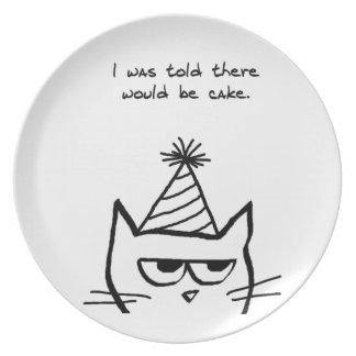Angry Cat Hates Birthdays Party Plates