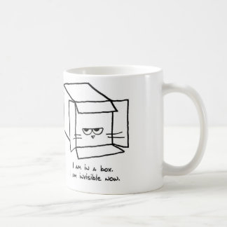 Angry Cat Hides in a Box Classic White Coffee Mug