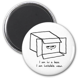 Angry Cat Hides in a Box Magnet