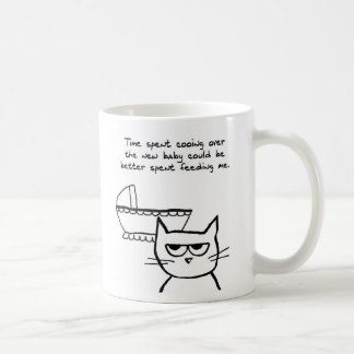 Angry Cat is jealous of the Baby Basic White Mug