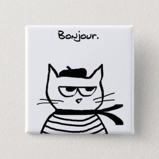 Angry Cat is So Very French 2 Inch Square Button