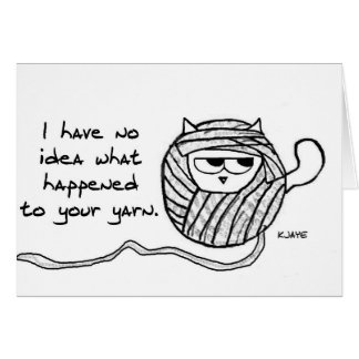 Angry Cat Likes Yarn Card