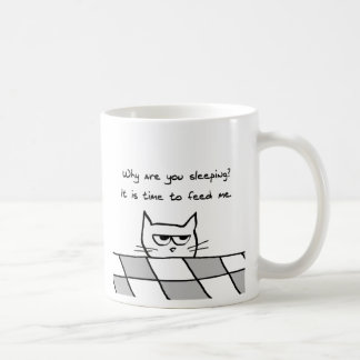 Angry Cat Wants You Out of Bed Basic White Mug