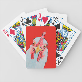 angry chicken in red poker deck
