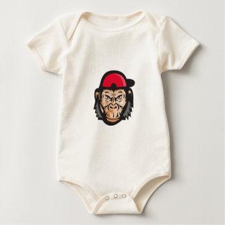 Angry Chimpanzee Head Baseball Cap Retro Baby Bodysuit