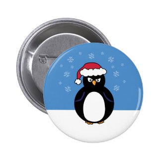 Angry Christmas Penguin 2 Inch Round Button