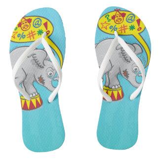 Angry circus elephant saying bad words flip flops
