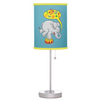 Angry circus elephant saying bad words table lamp