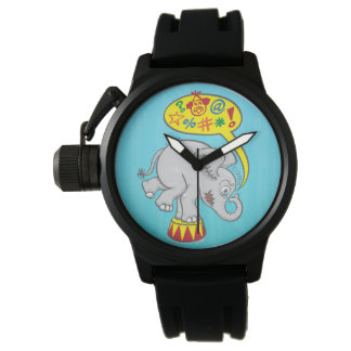 Angry circus elephant saying bad words watches