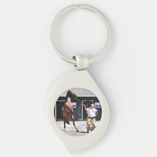 Angry Curlin Baby Silver-Colored Swirl Keychain