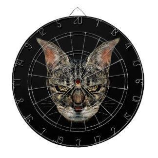Angry Cyborg Cat Dartboard With Darts