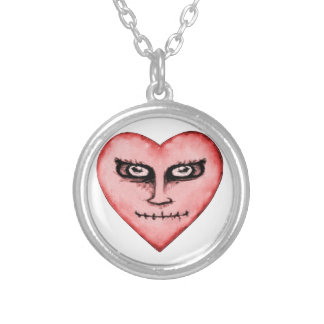 Angry Devil Heart Drawing Silver Plated Necklace