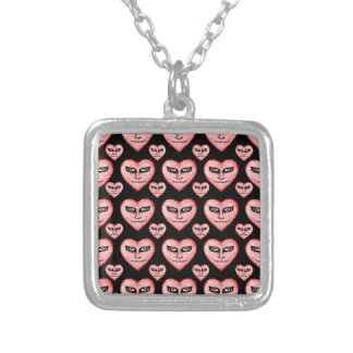 Angry Devils Heart Drawing Square Pendant Necklace