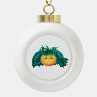 Angry Doll Ceramic Ball Ornament