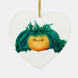 Angry Doll Ceramic Heart Ornament