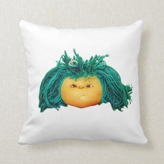 Angry Doll Throw Pillow