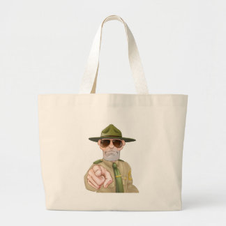 Angry Drill Sergeant Pointing Large Tote Bag