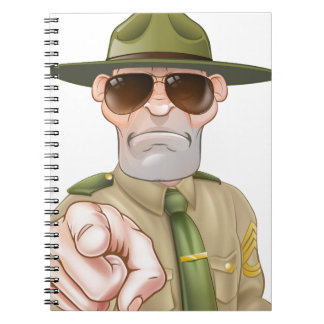 Angry Drill Sergeant Pointing Note Book