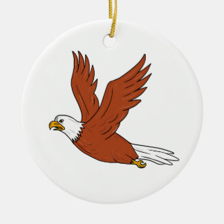 Angry Eagle Flying Cartoon Ceramic Ornament