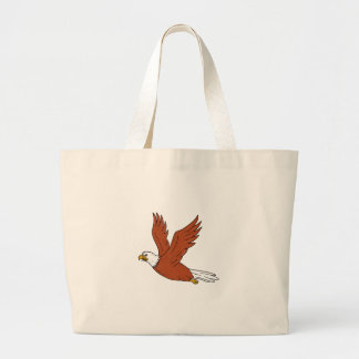 Angry Eagle Flying Cartoon Large Tote Bag