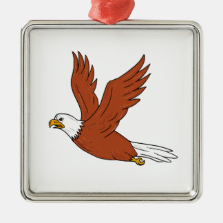 Angry Eagle Flying Cartoon Metal Ornament