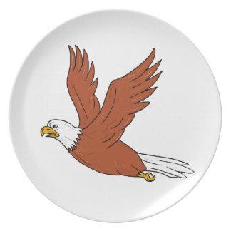 Angry Eagle Flying Cartoon Plate