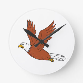 Angry Eagle Flying Cartoon Round Clock