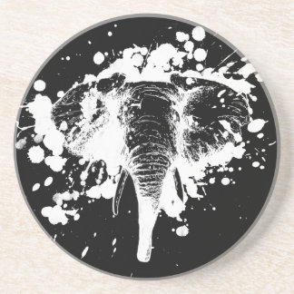 Angry Elephant in White Drink Coasters