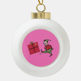 Angry Elf Christmas ball Ceramic Ball Christmas Ornament