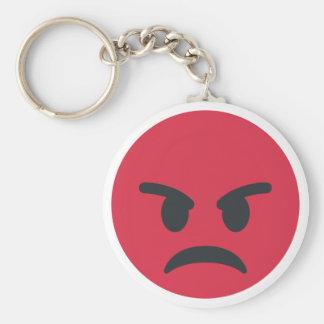 Angry Emoji Basic Round Button Keychain