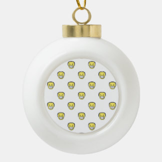 Angry Emoji Graphic Pattern Ceramic Ball Christmas Ornament